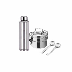 Superbazaar Stainless Steel School Set (lunch Box, Bottle, Tea Spoon)