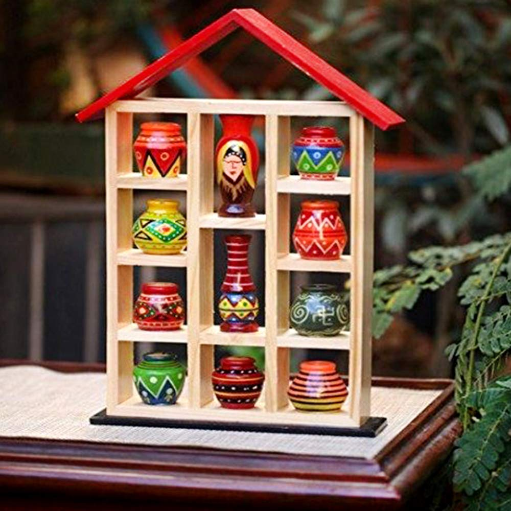 Superbazaar Handcrafted Wooden Pot House - 1 Pc