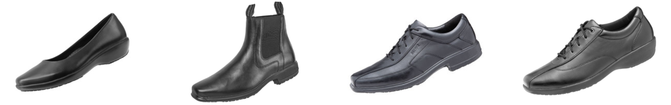 Slip-Resistant Black Leather Work Shoes