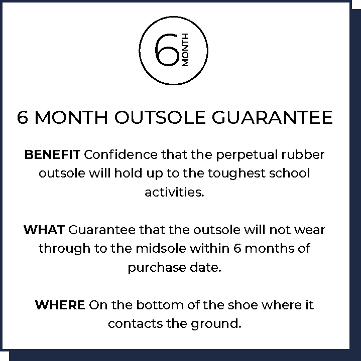 6 Month Outsole Guarantee