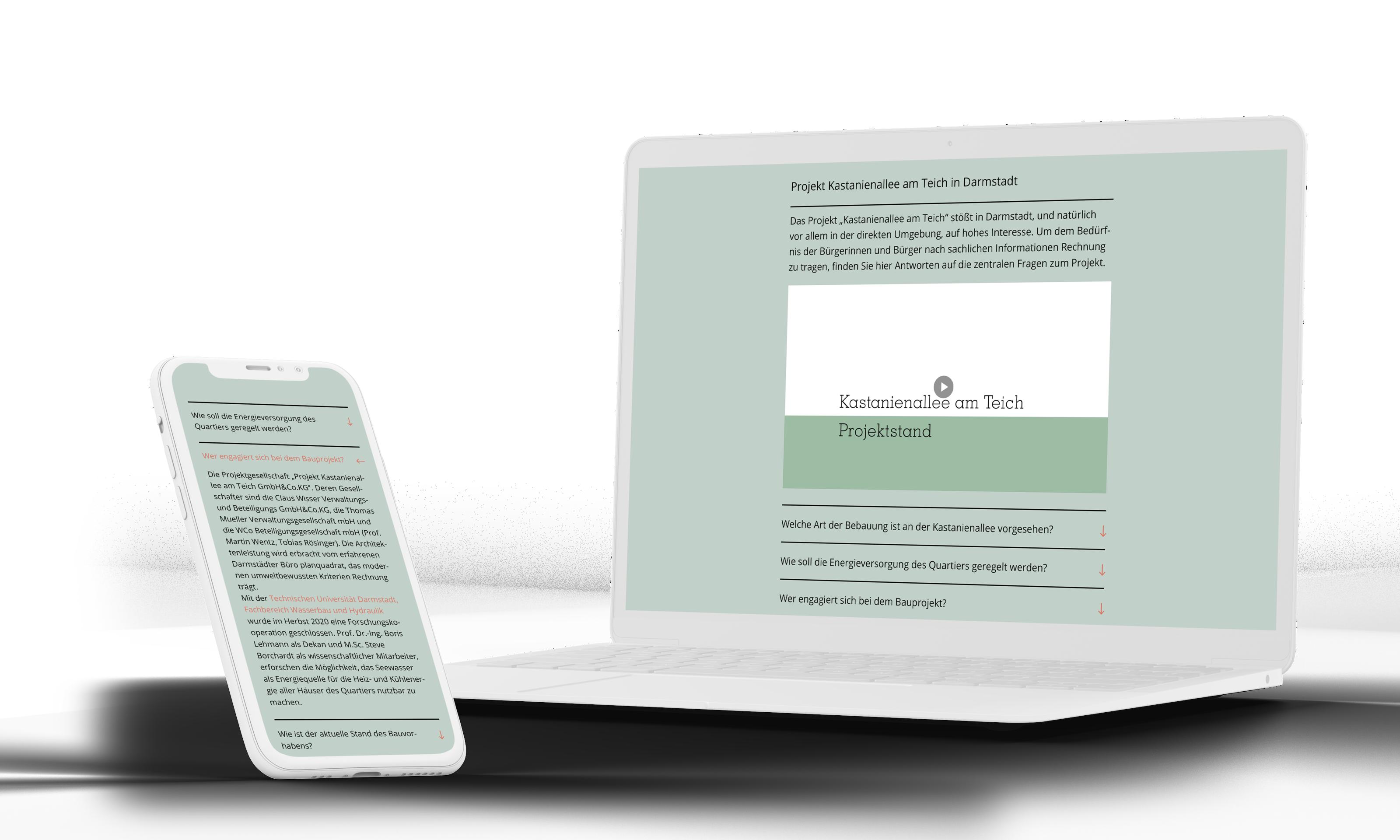 Langingpage Entwicklung für Kastanienallee am Teich von formwandler interactive