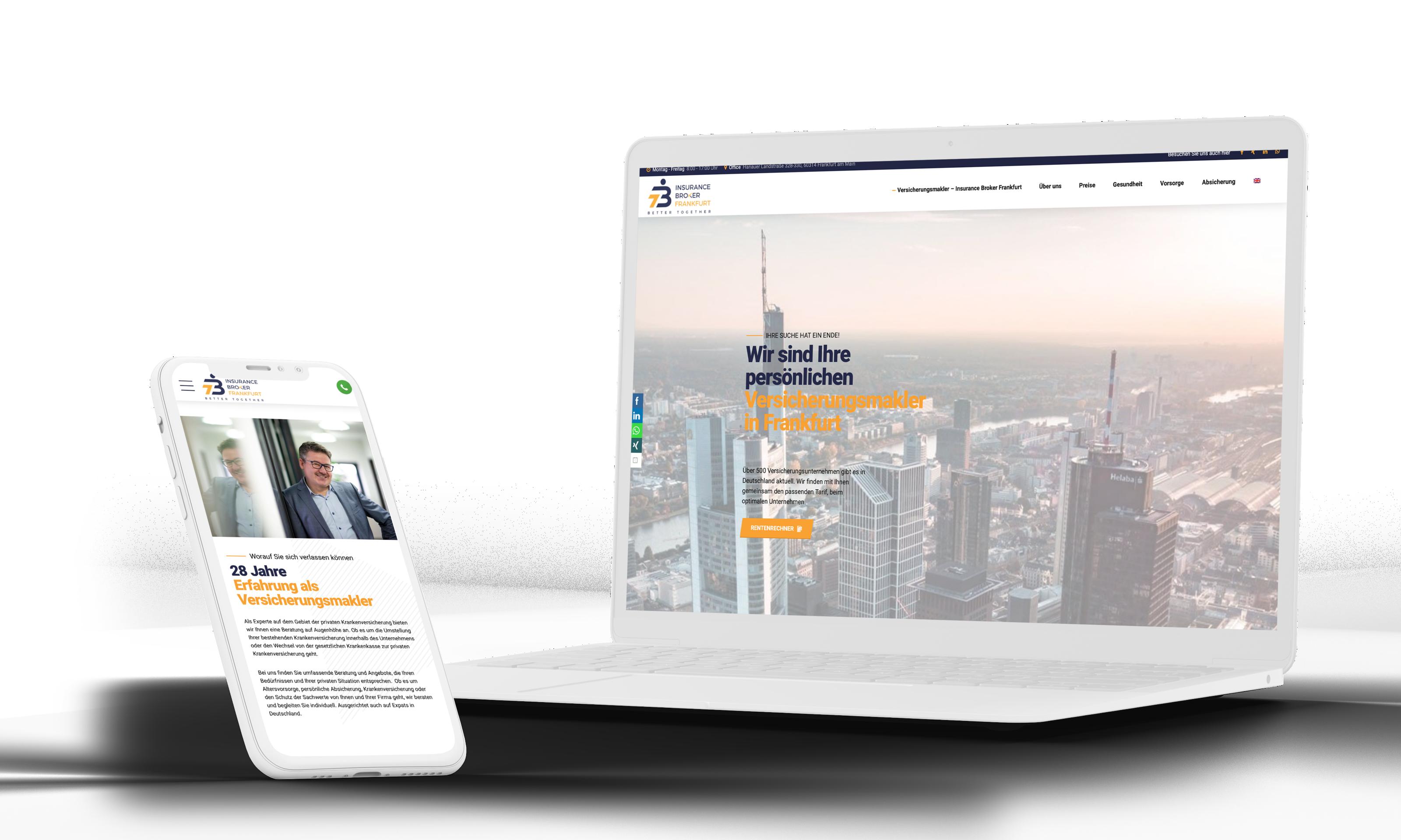 Versicherungsmakler Homepage Design Agentur Frnakfurt