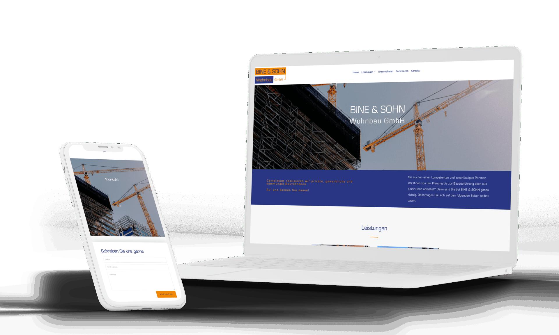 Website für Wohnbaufirma Mockup