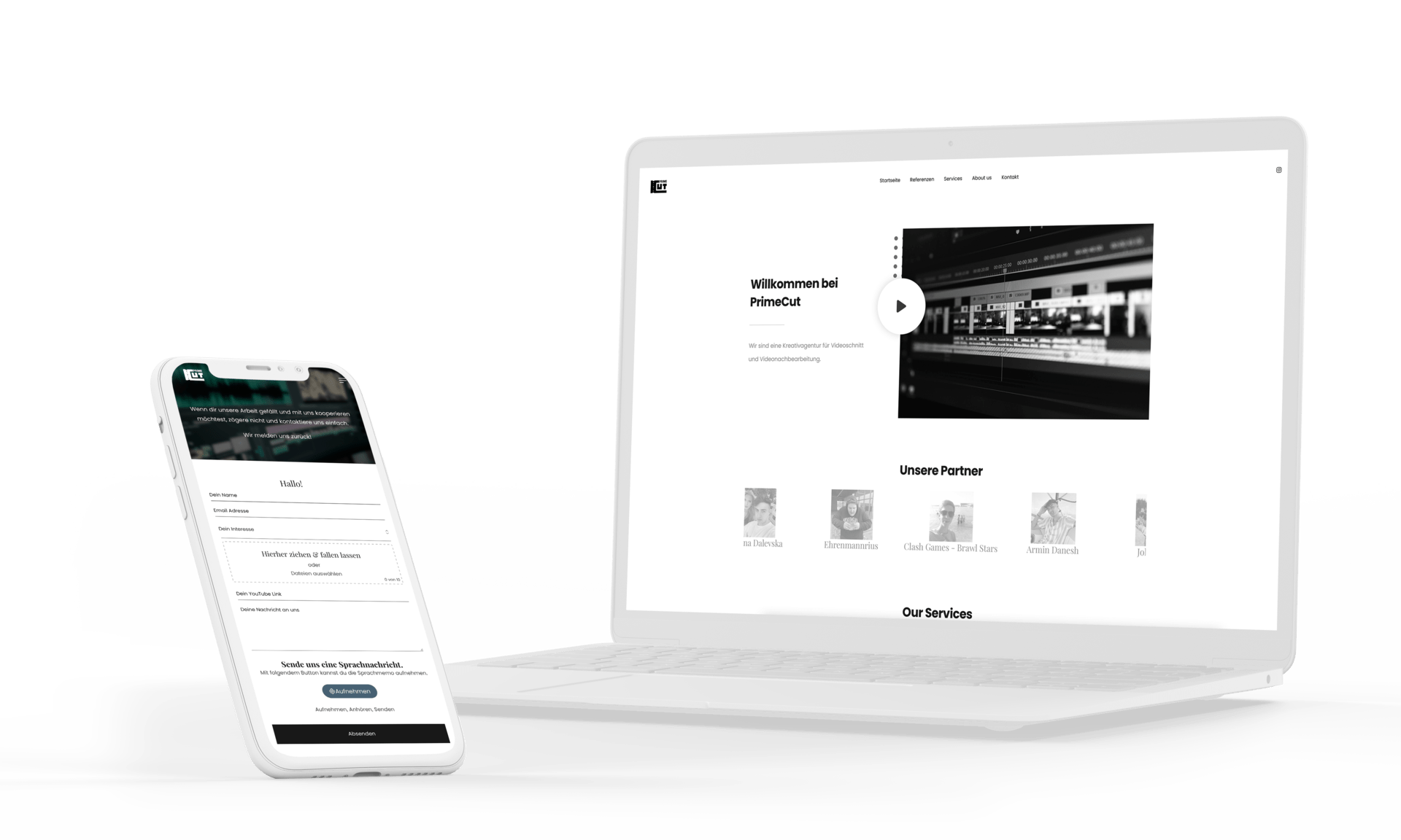 Webdesign für Videoagentur Frankfurt von formwandler webdesign