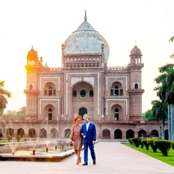 Koning en koningin in New Dehli