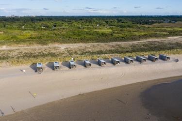 Strandhuisjes op het strand bij Kijkduin