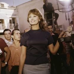 Sophia Loren op de set