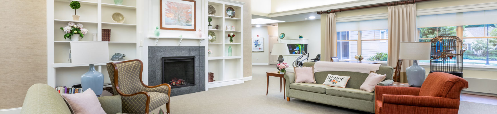 A bright and modern community room at Fox Hill Village senior living community in Massachusetts