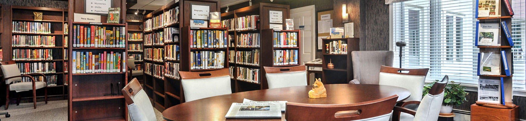 The library at the Fox Hill senior living community