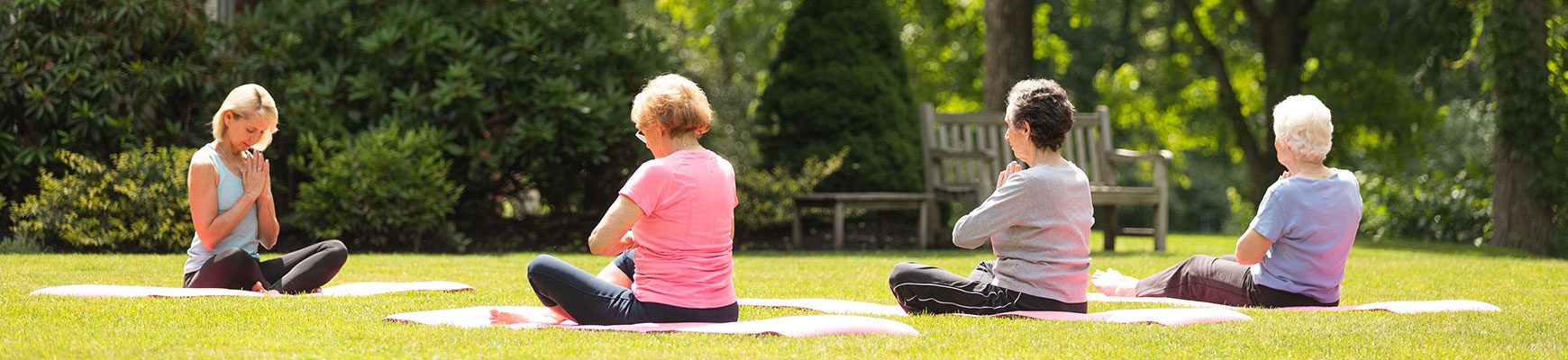 A yoga for seniors class being held outdoors