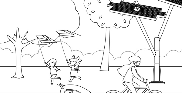 A coloring book featuring people in a park.