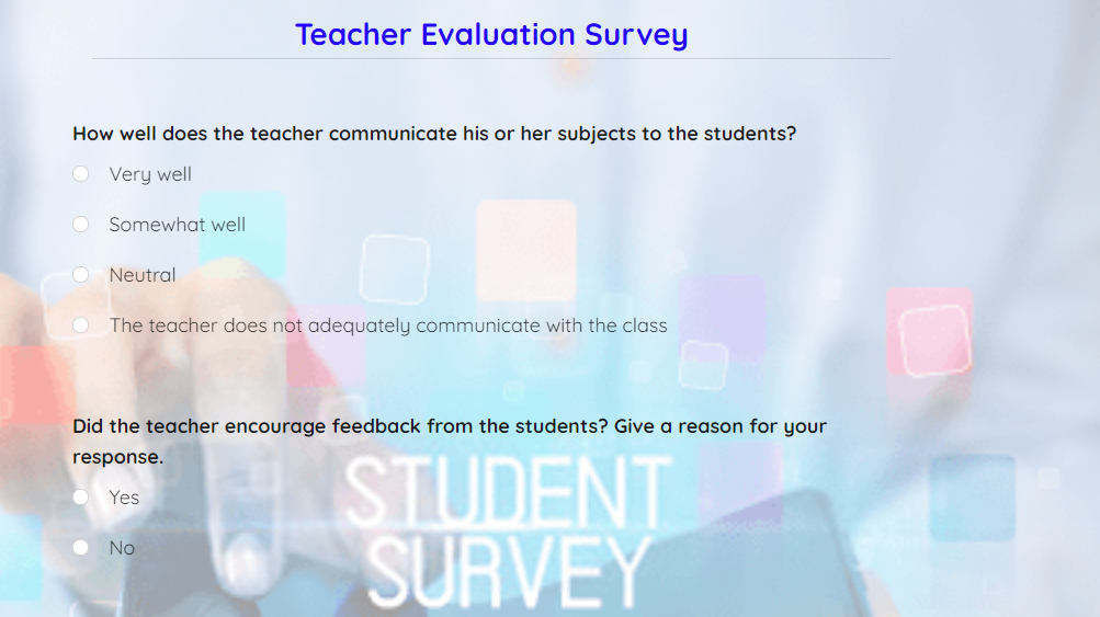 teachers evaluation survey