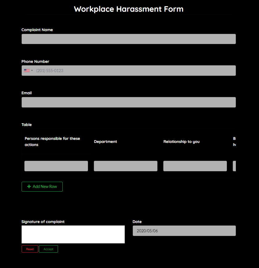 workplace harassment form