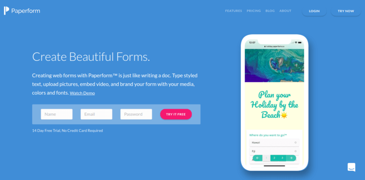Paperform-Forms-Home-page-Formplus-Top-Online-Form-Builders