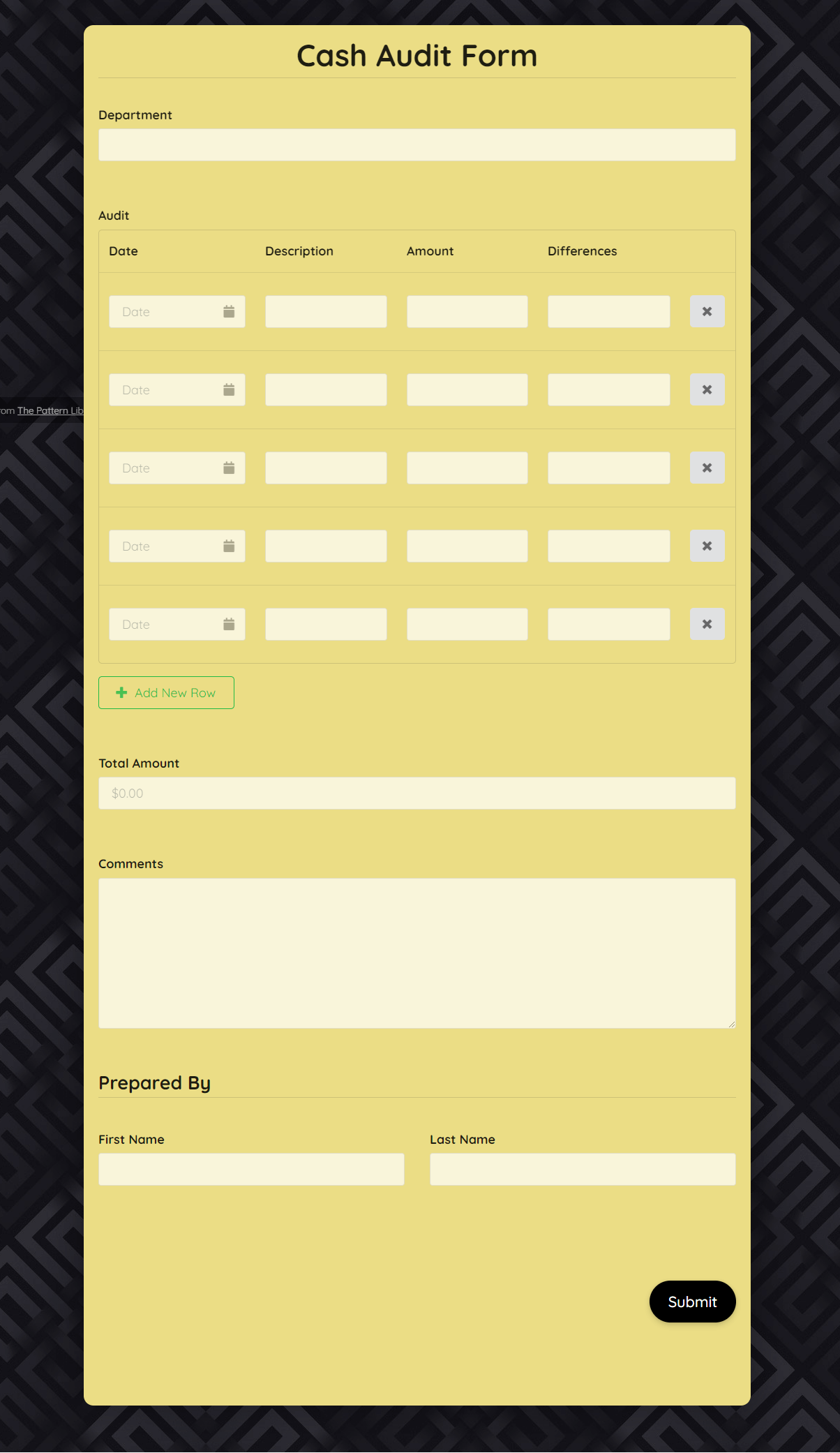 Free Cash Audit Form Template template