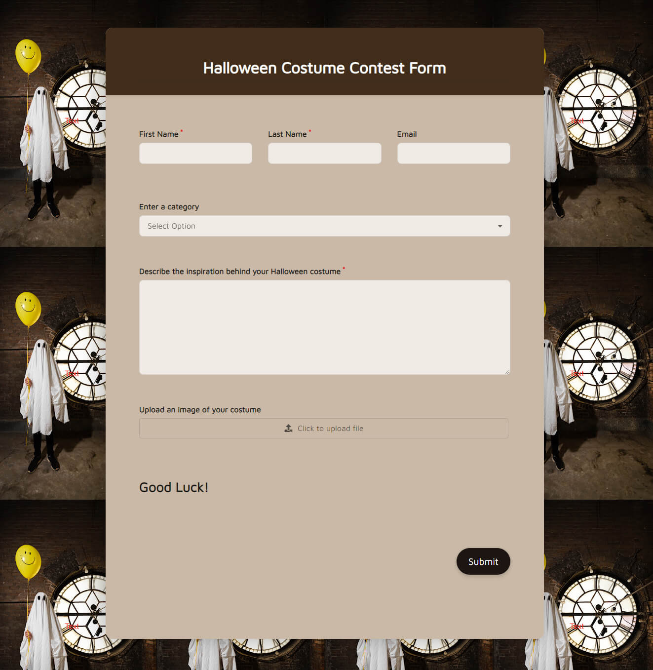 Halloween Costume Contest Form template