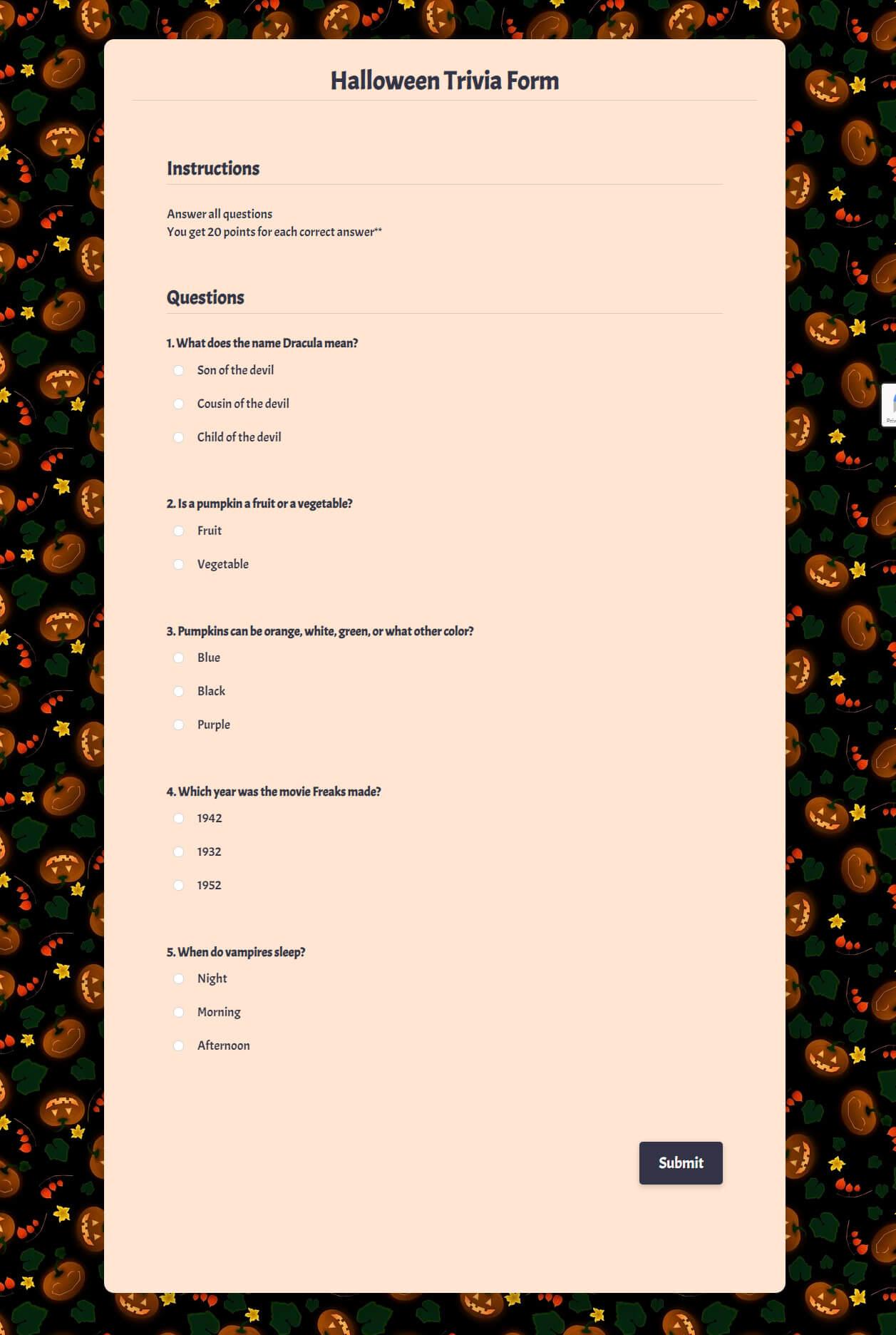 Halloween Trivia Form Template template