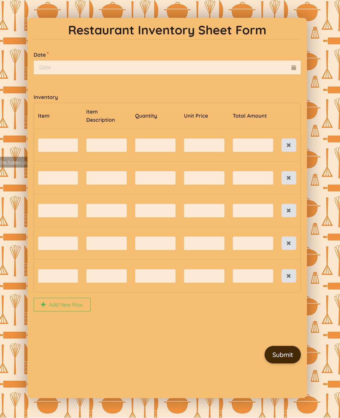 Restuarant Inventory Sheet Form template