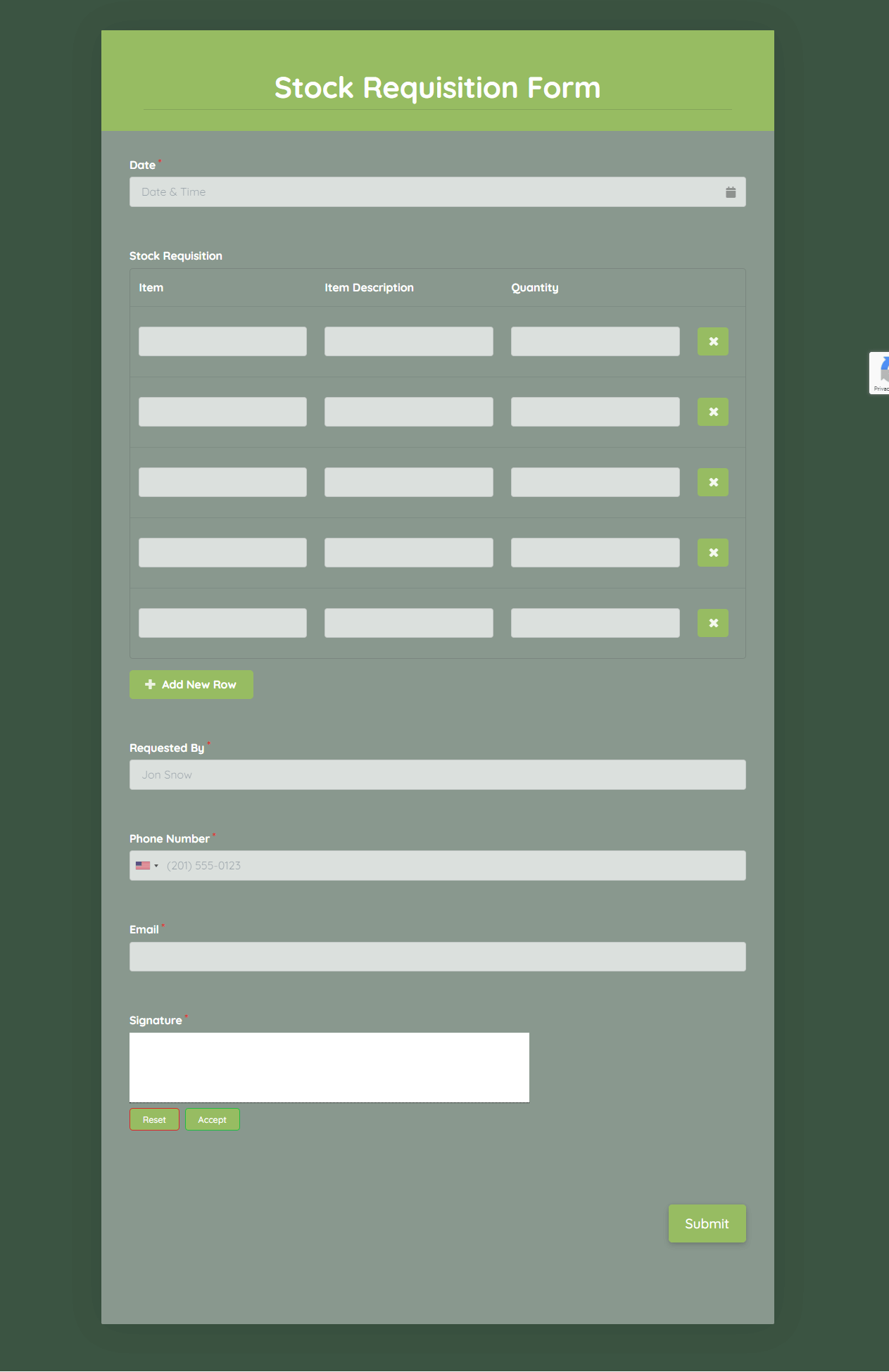 Stock Requisition Form Template template