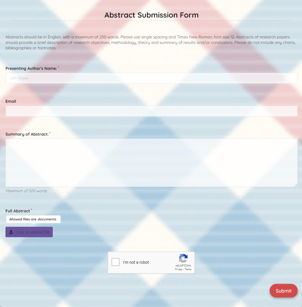 Abstract Submission Form Template template