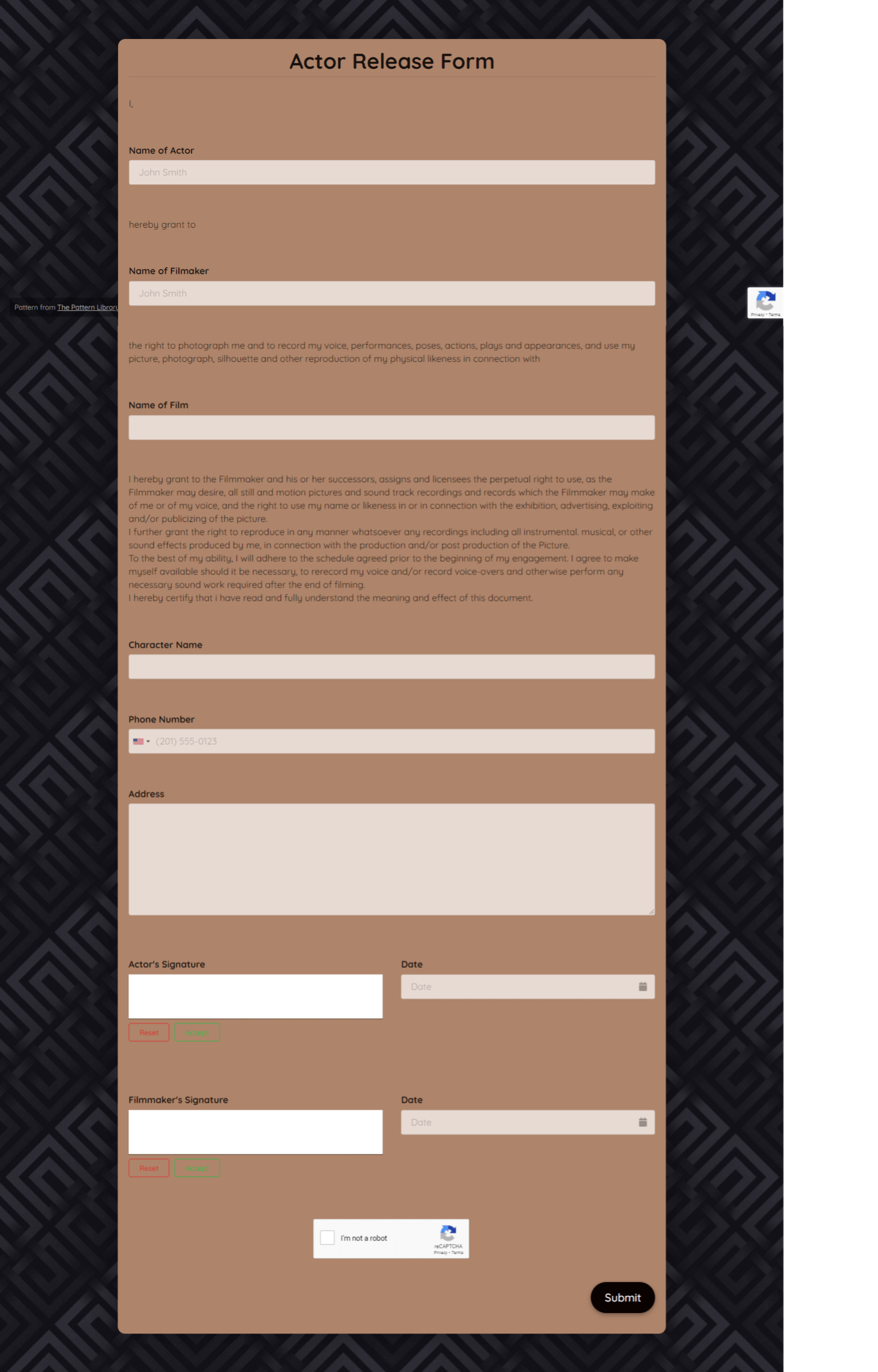 Actor Release Form Template template