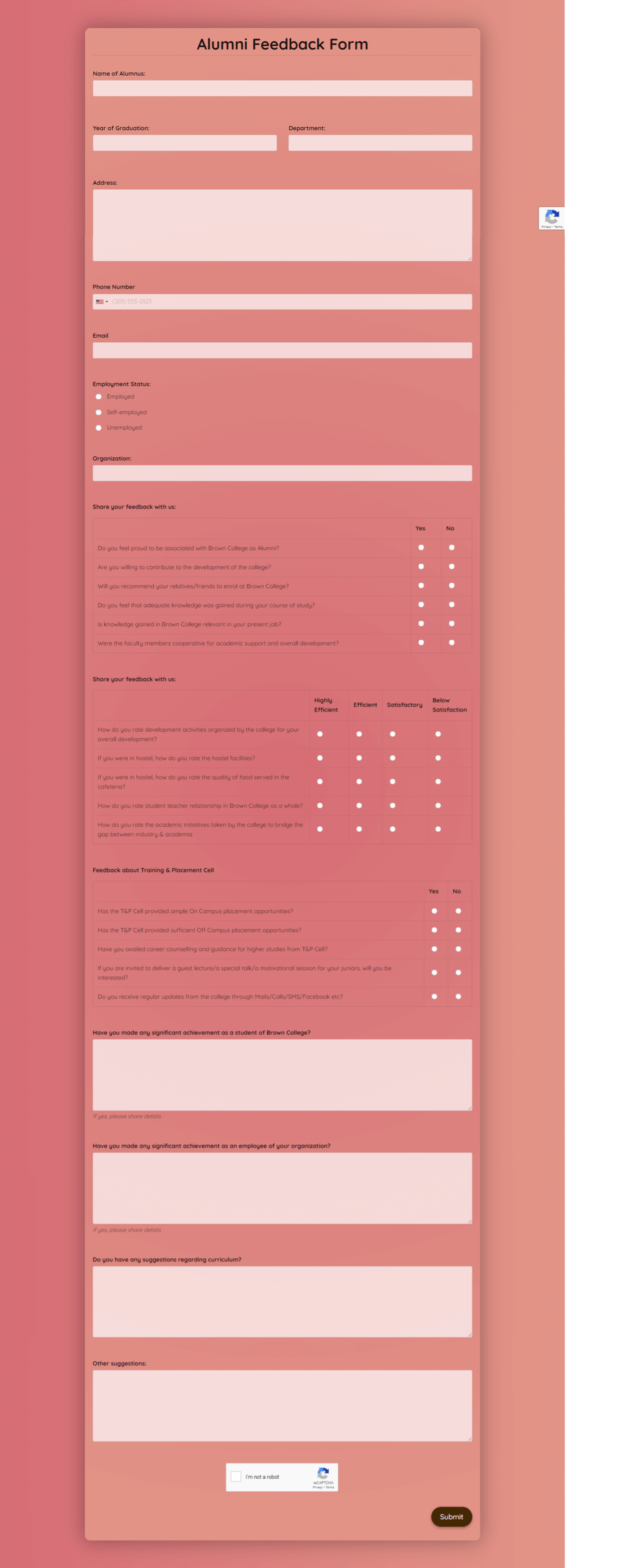 Alumni Feedback Form Template template