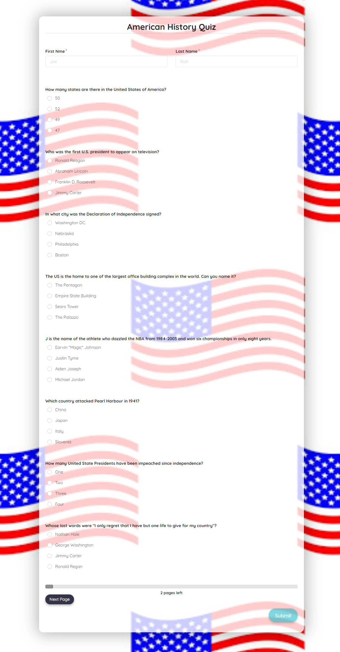 American History Quiz Template template