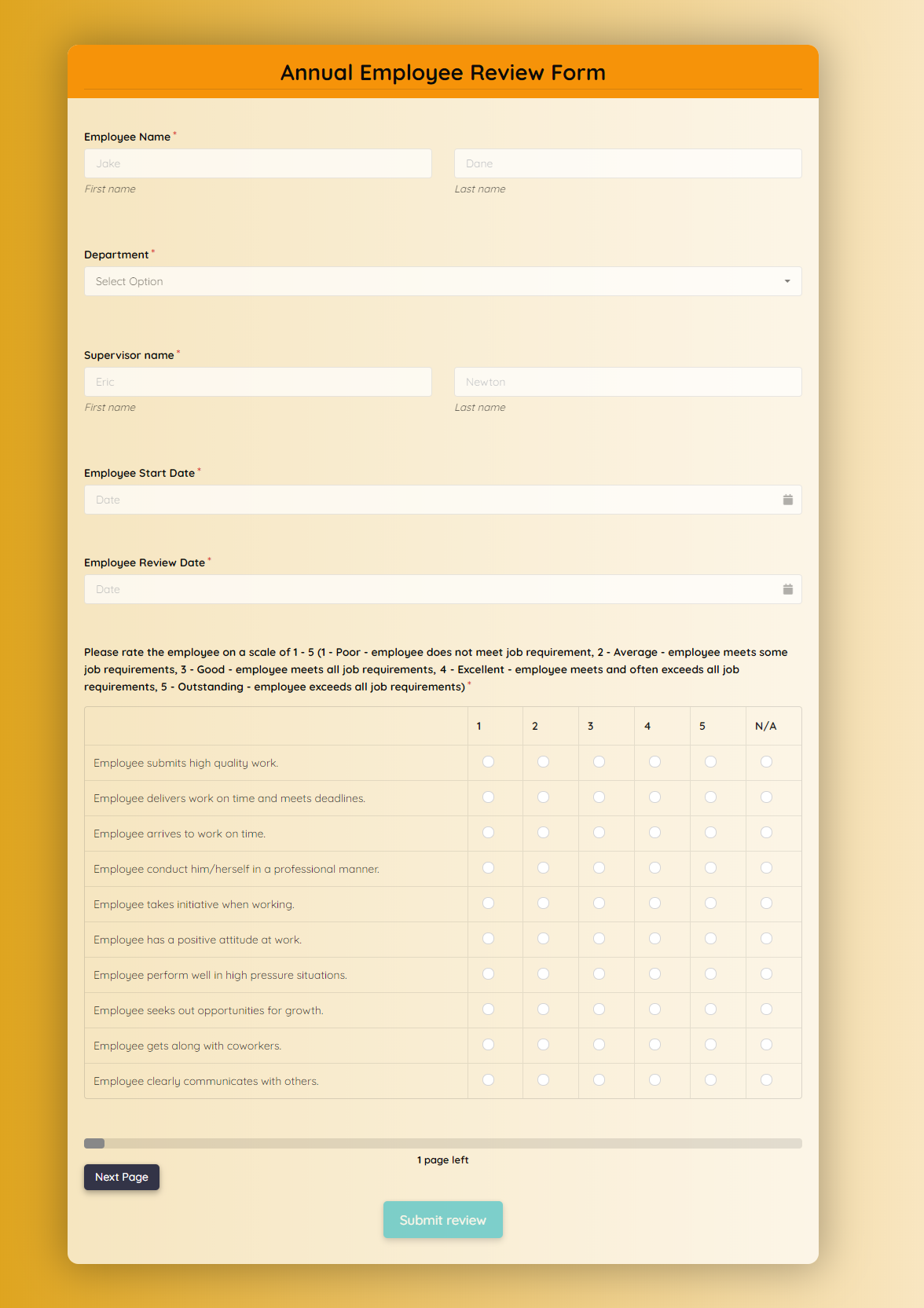 Annual Employee Review Form Template template