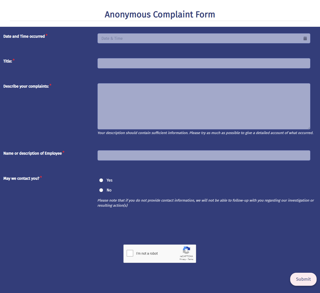 Anonymous Complaint Form Template template