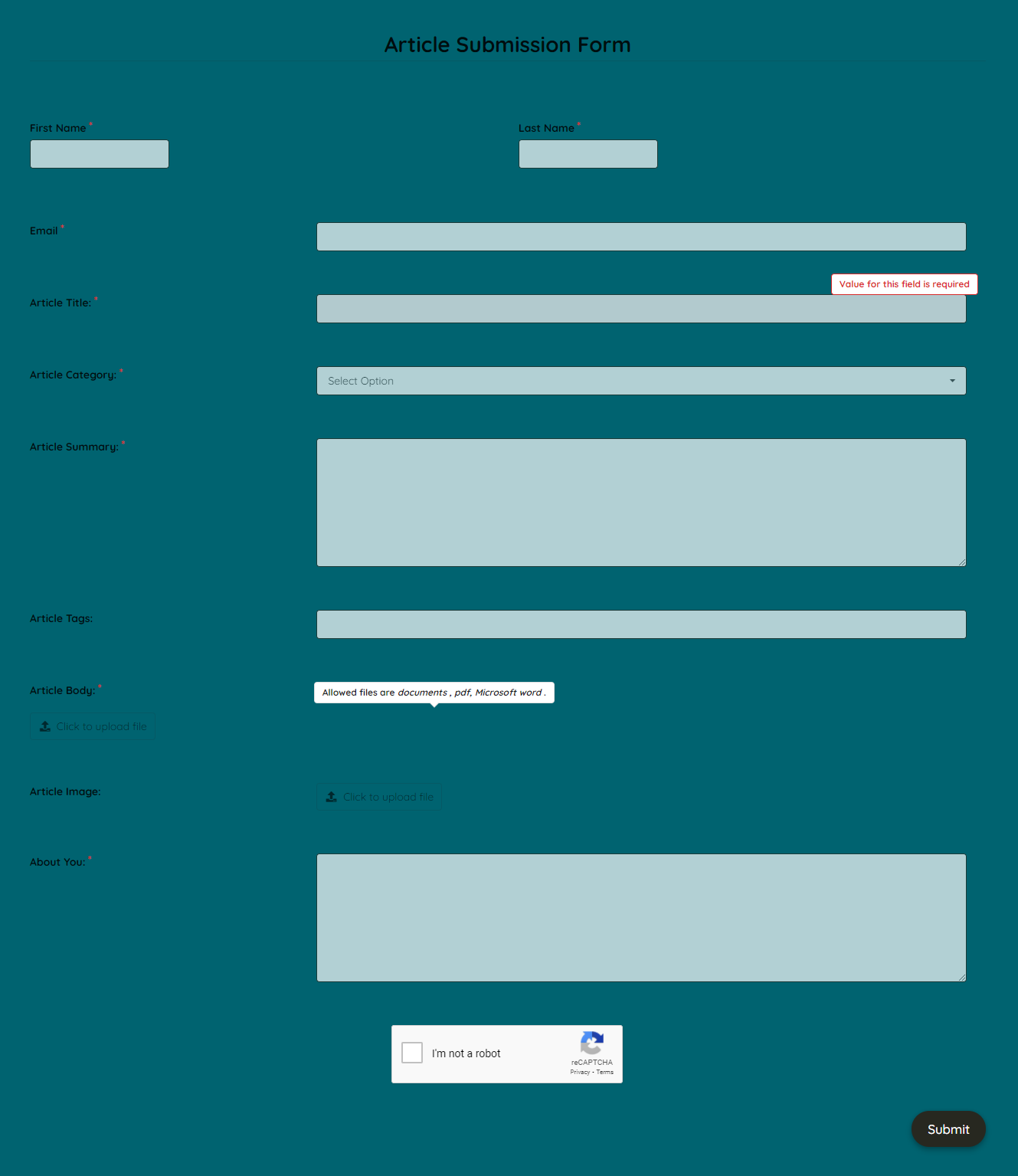 Article Submission Form Template template
