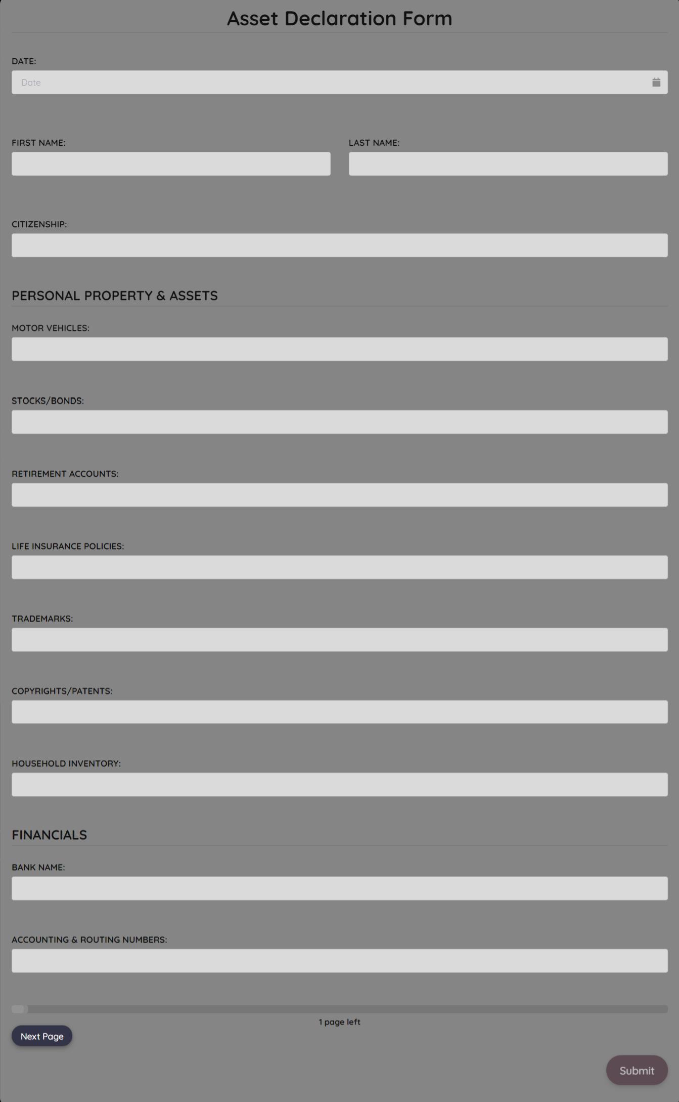 Asset Declaration Form Template template
