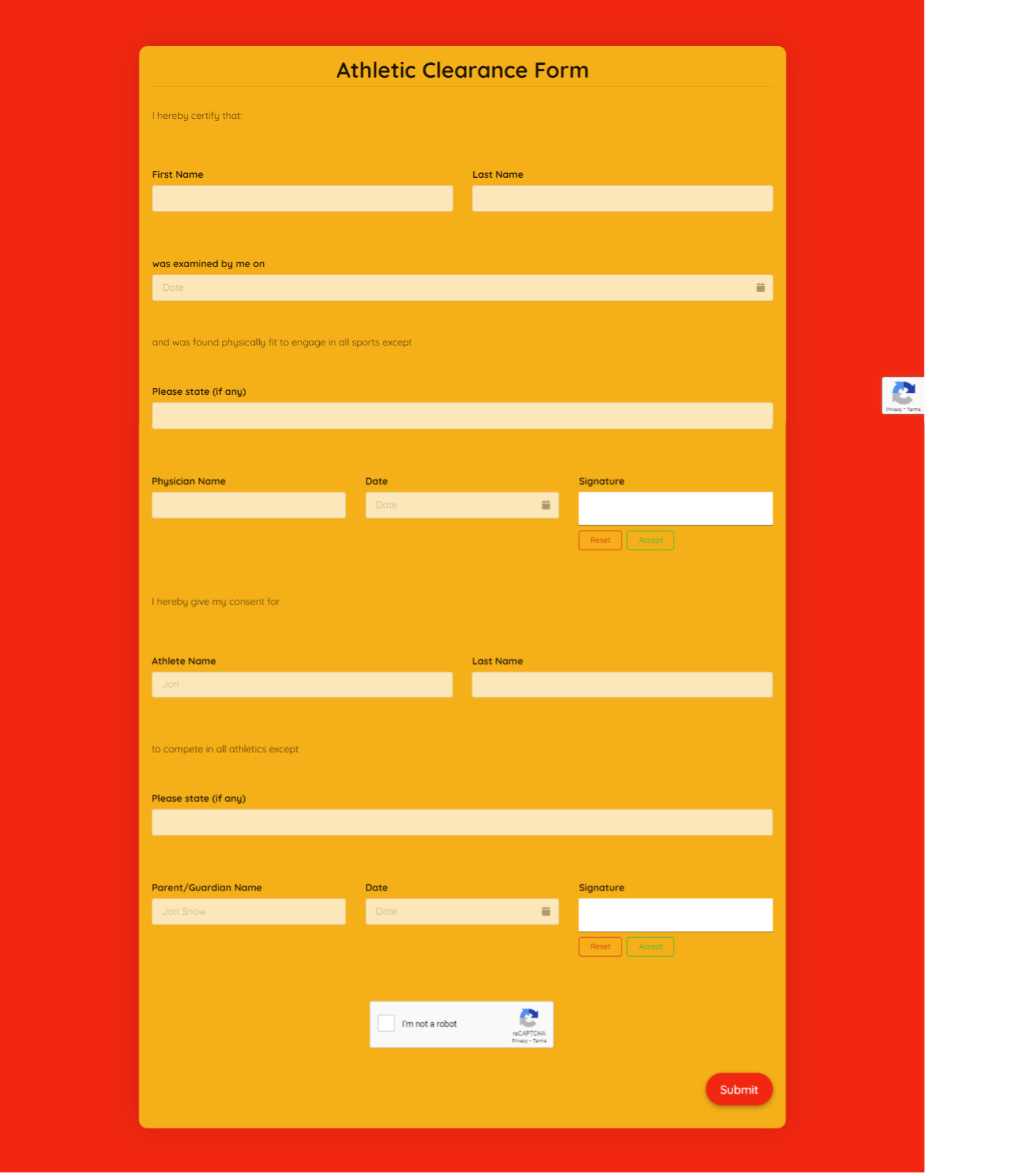 Athletic Clearance Form Template template