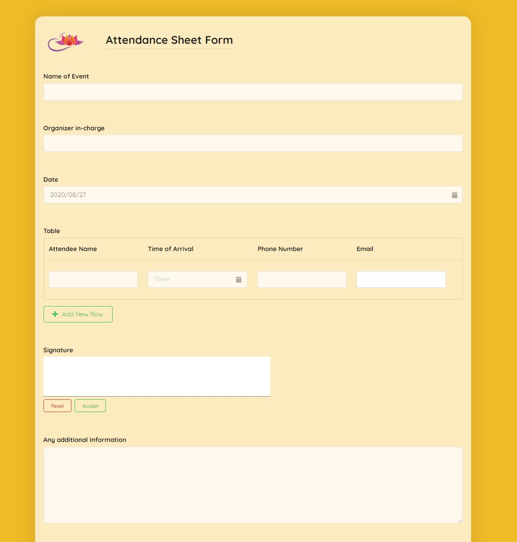 Attendance Sheet Form Template template
