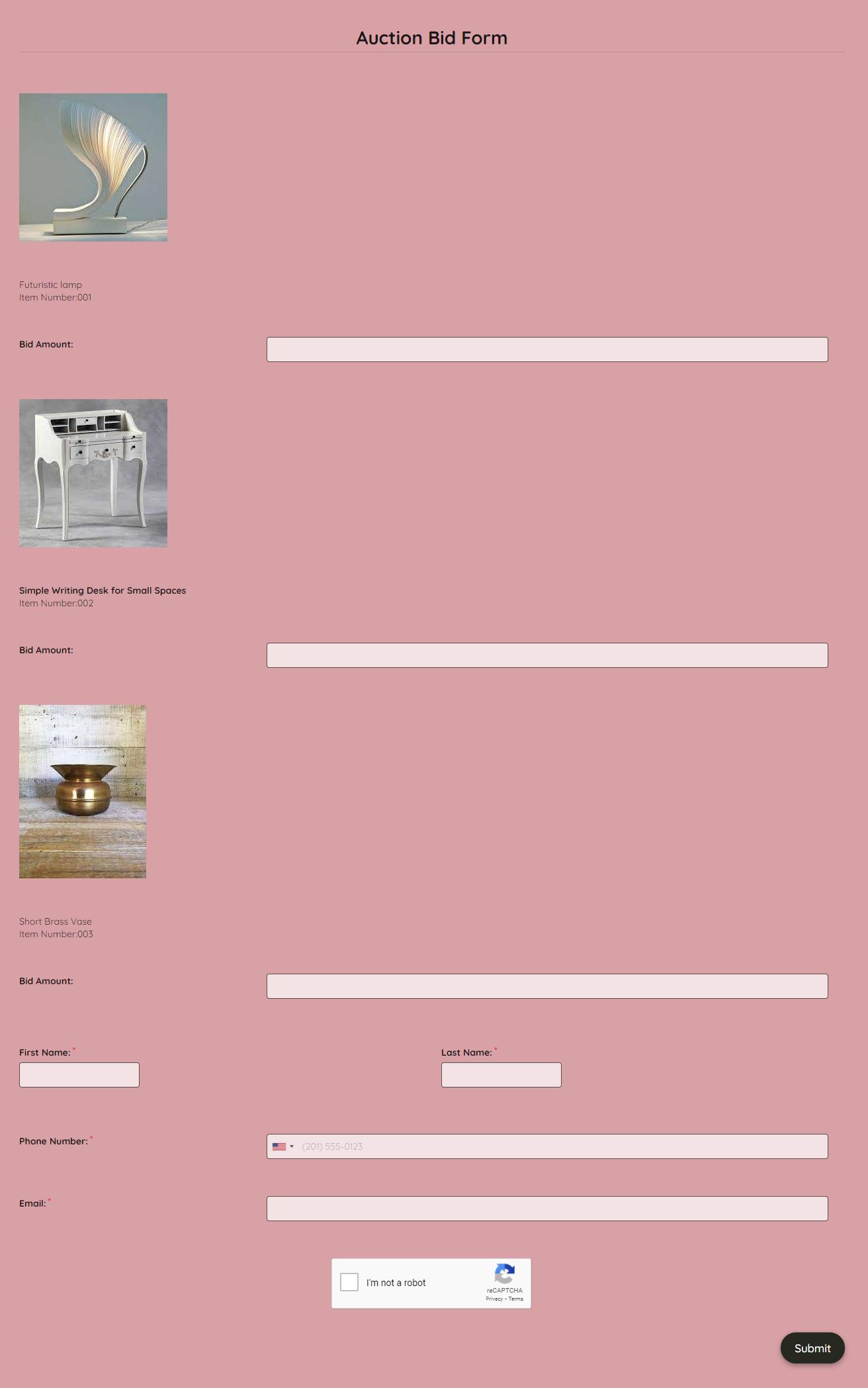 Auction Bid Form Template template