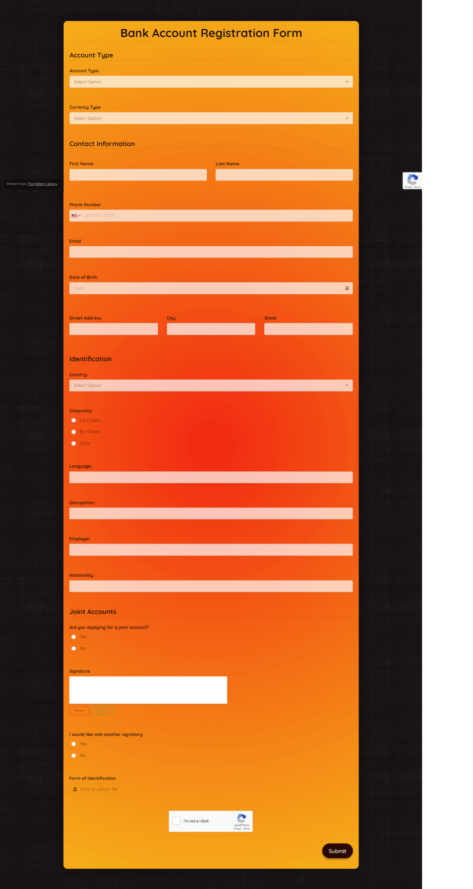 Bank Account Registration Form Template template