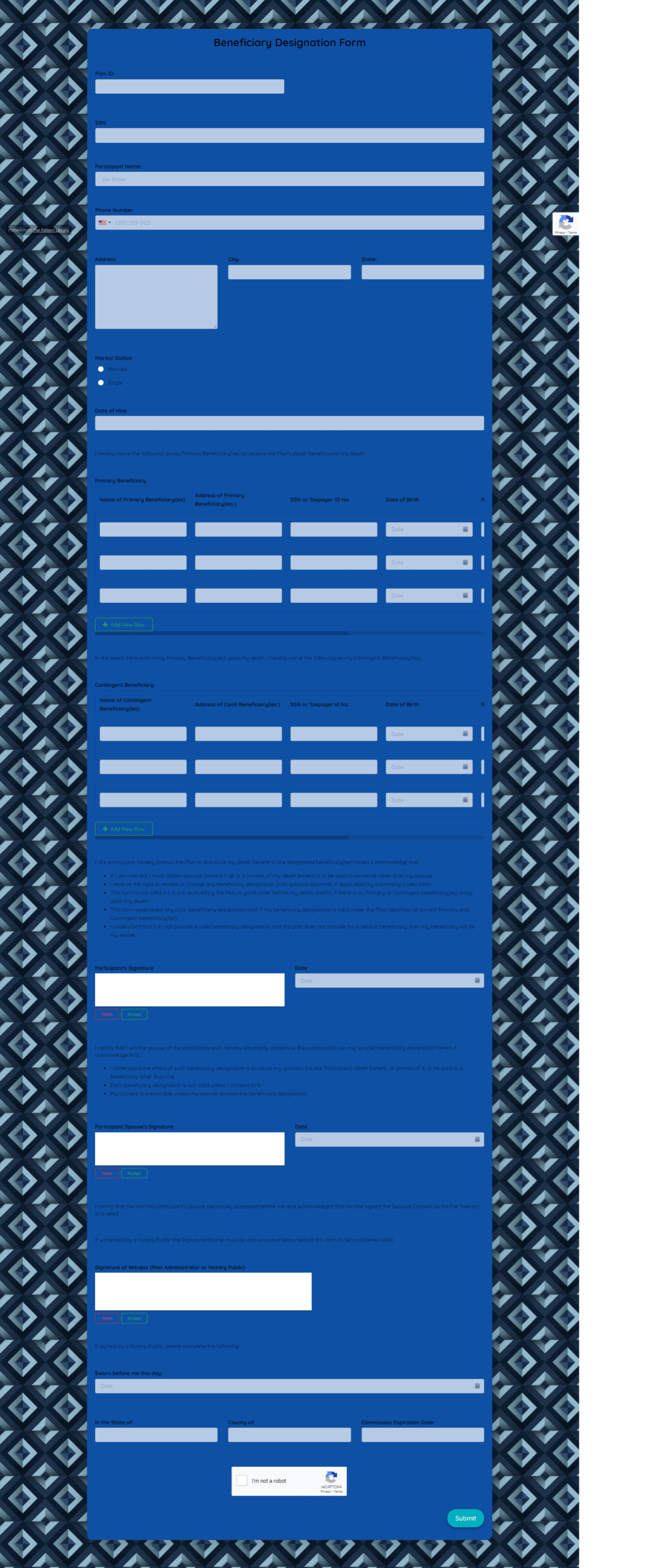 Beneficiary Designation Form Template template
