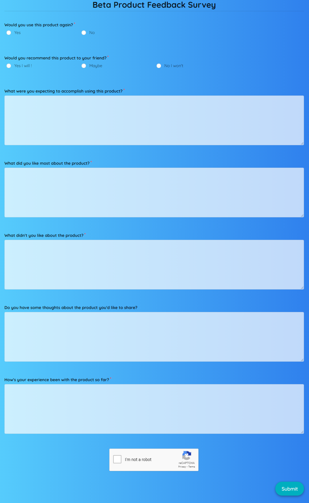 Beta Product Feedback Survey Template template