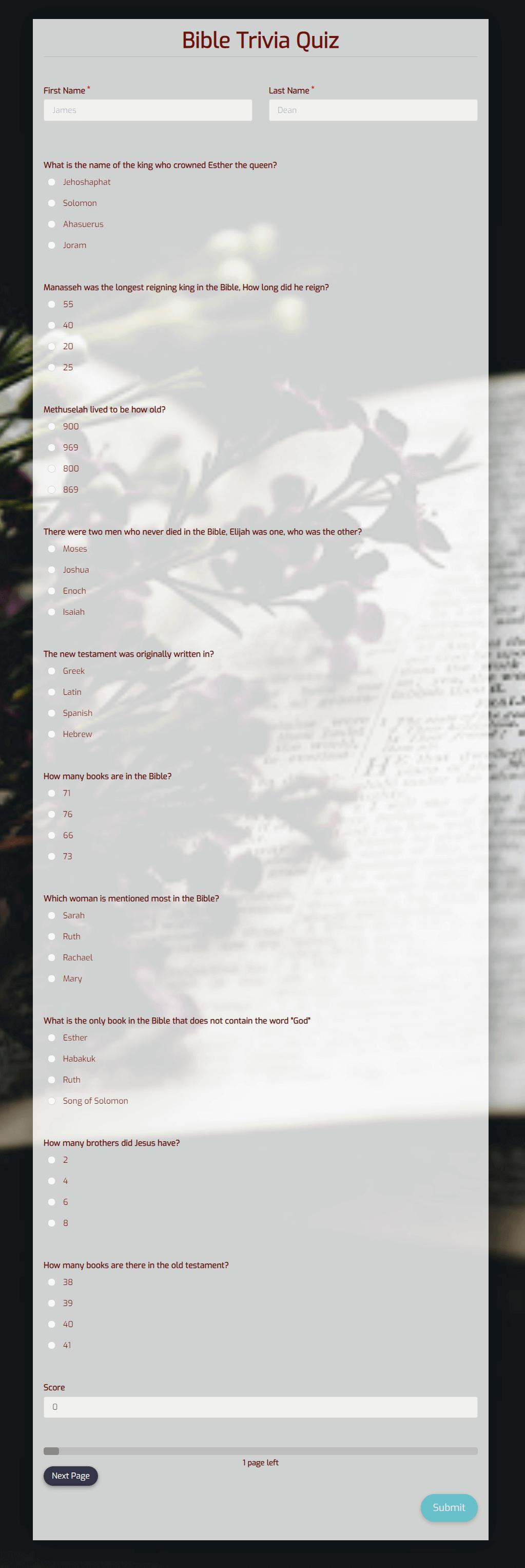 Free Bible Trivia Quiz Template template