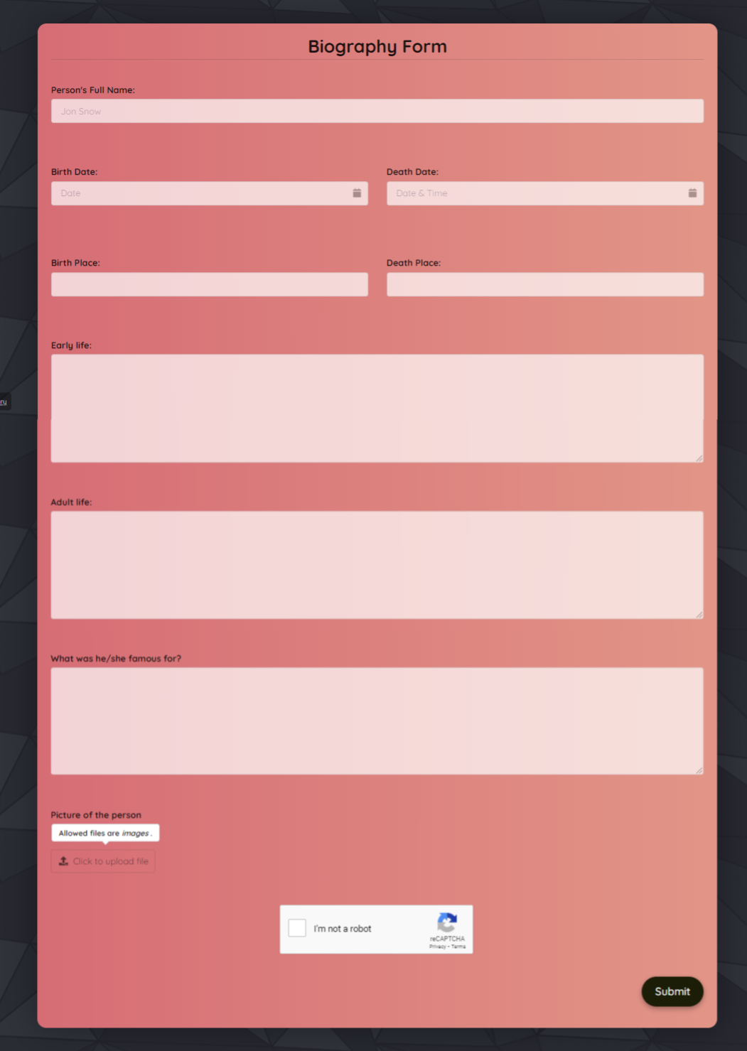 Biography Form Template template