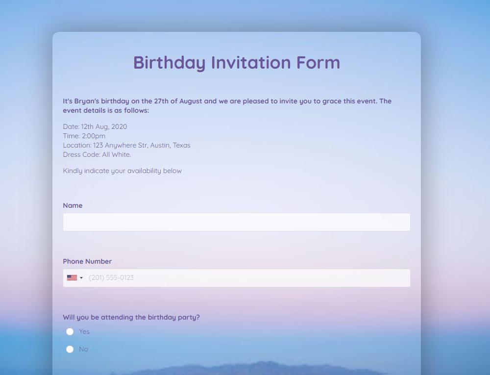 Birthday Invitation Form Template template
