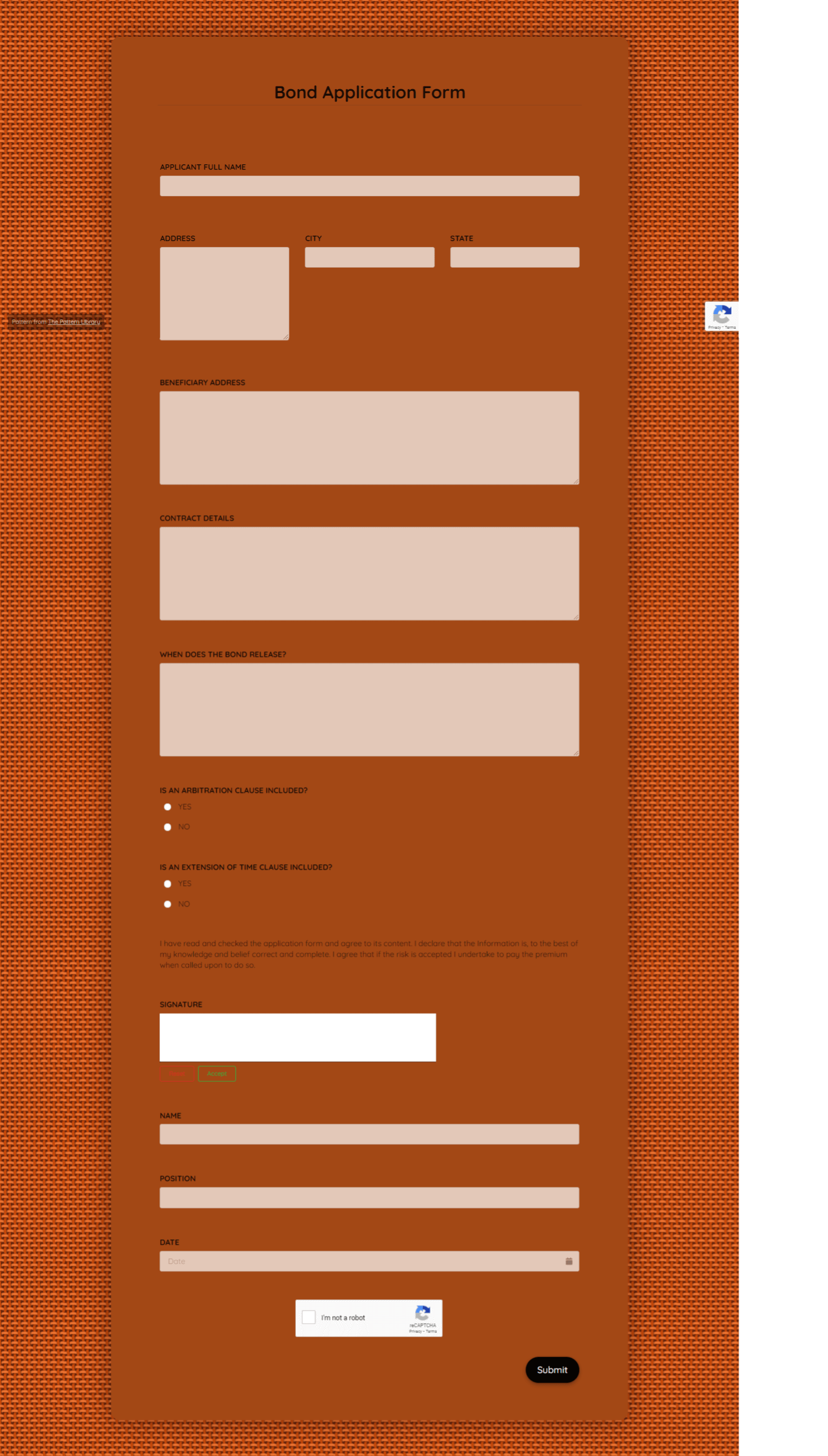 Bond Application Form Template template