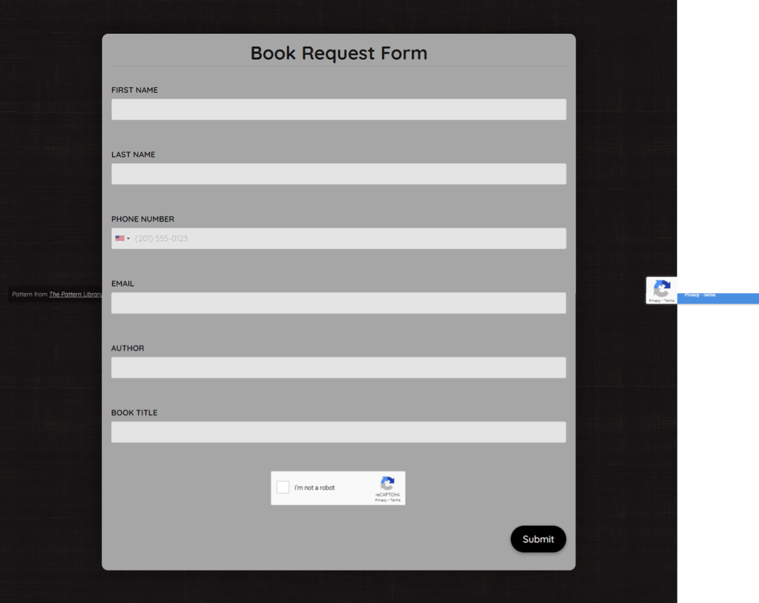 Book Request Form Template template