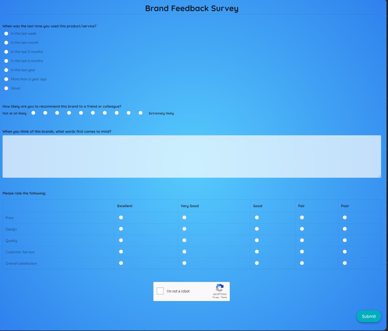 Brand Feedback Survey Template template