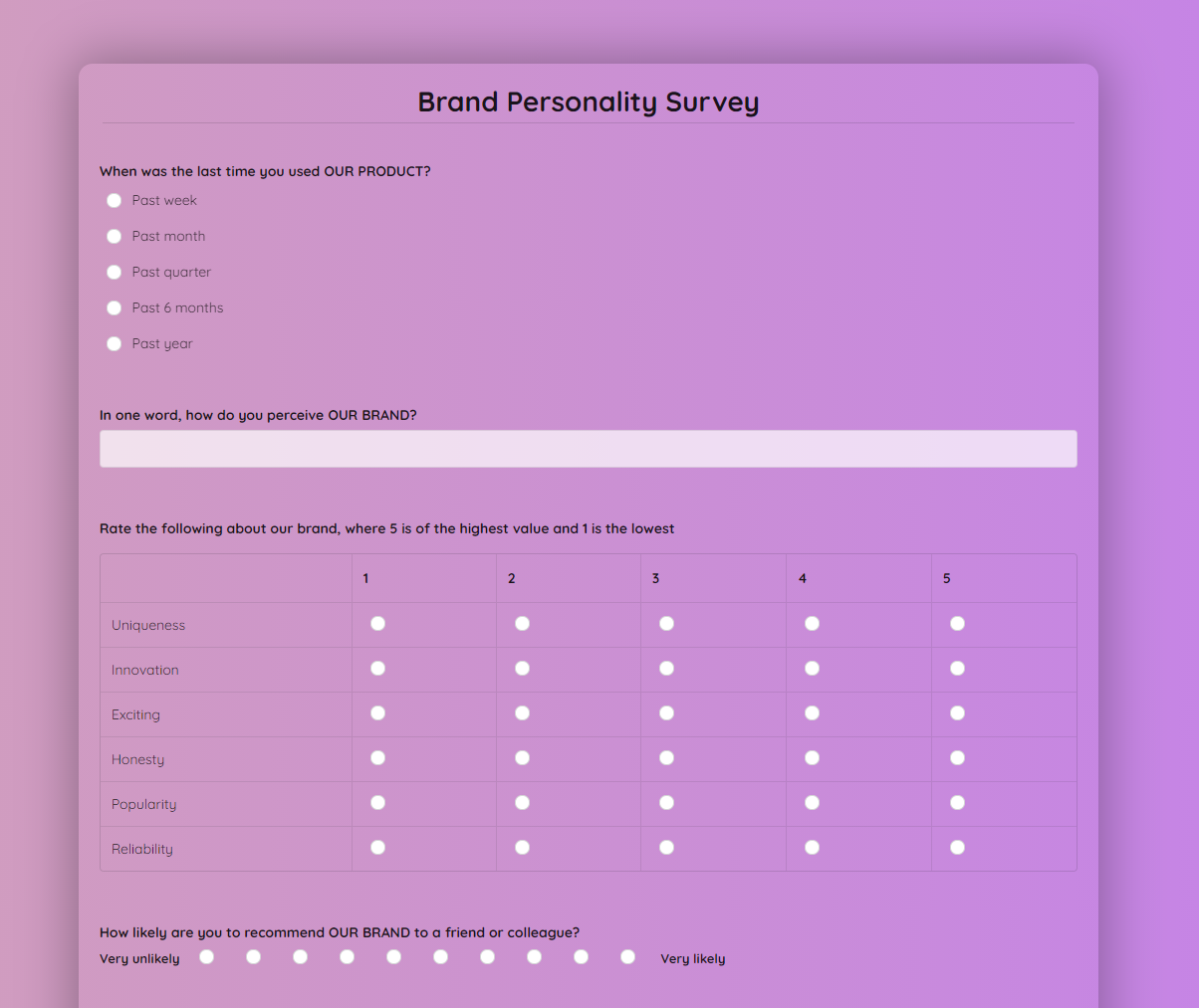 Brand Personality Survey Template template