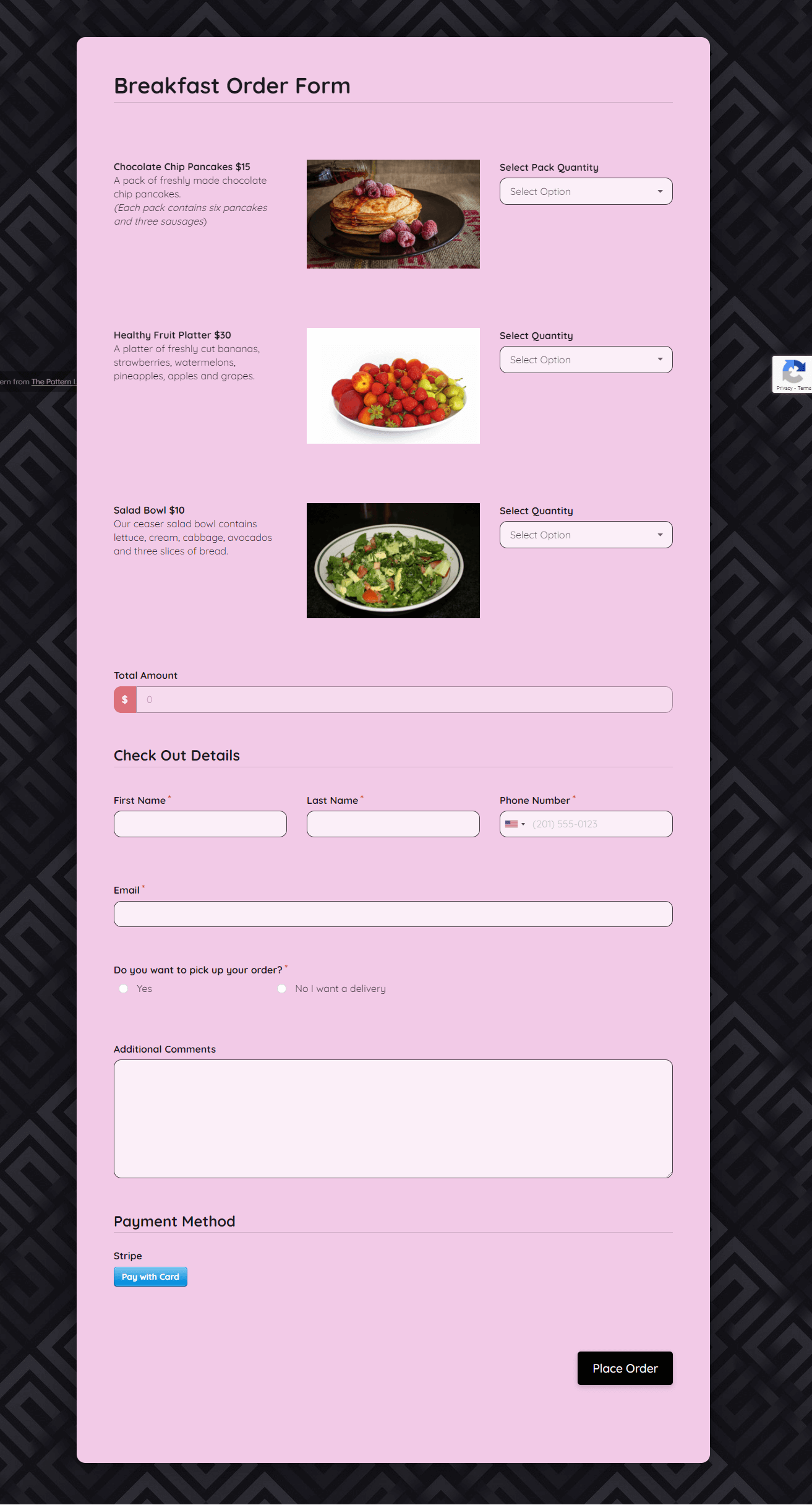 Breakfast Order Form Template template