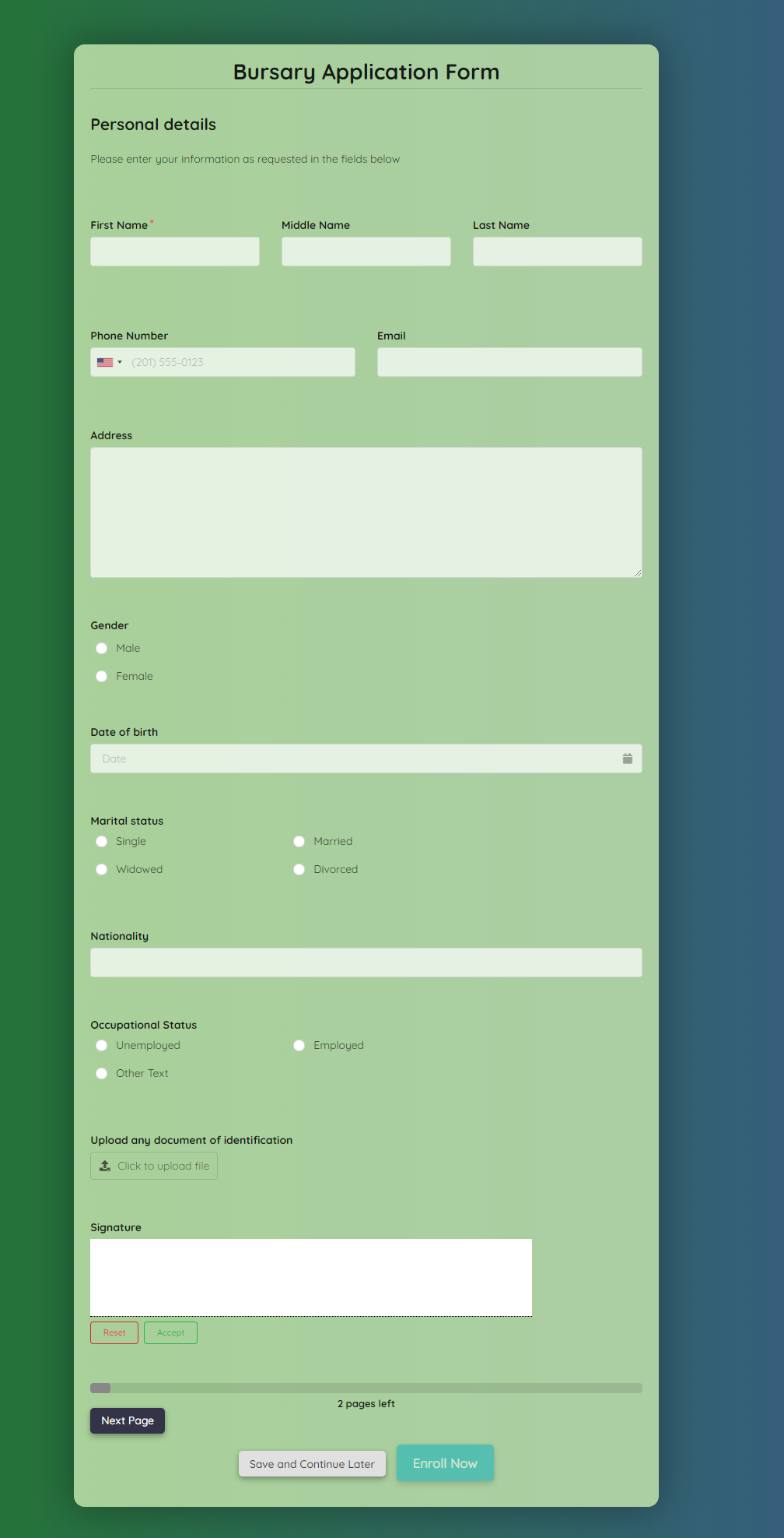 Free Bursary Application Form Template template