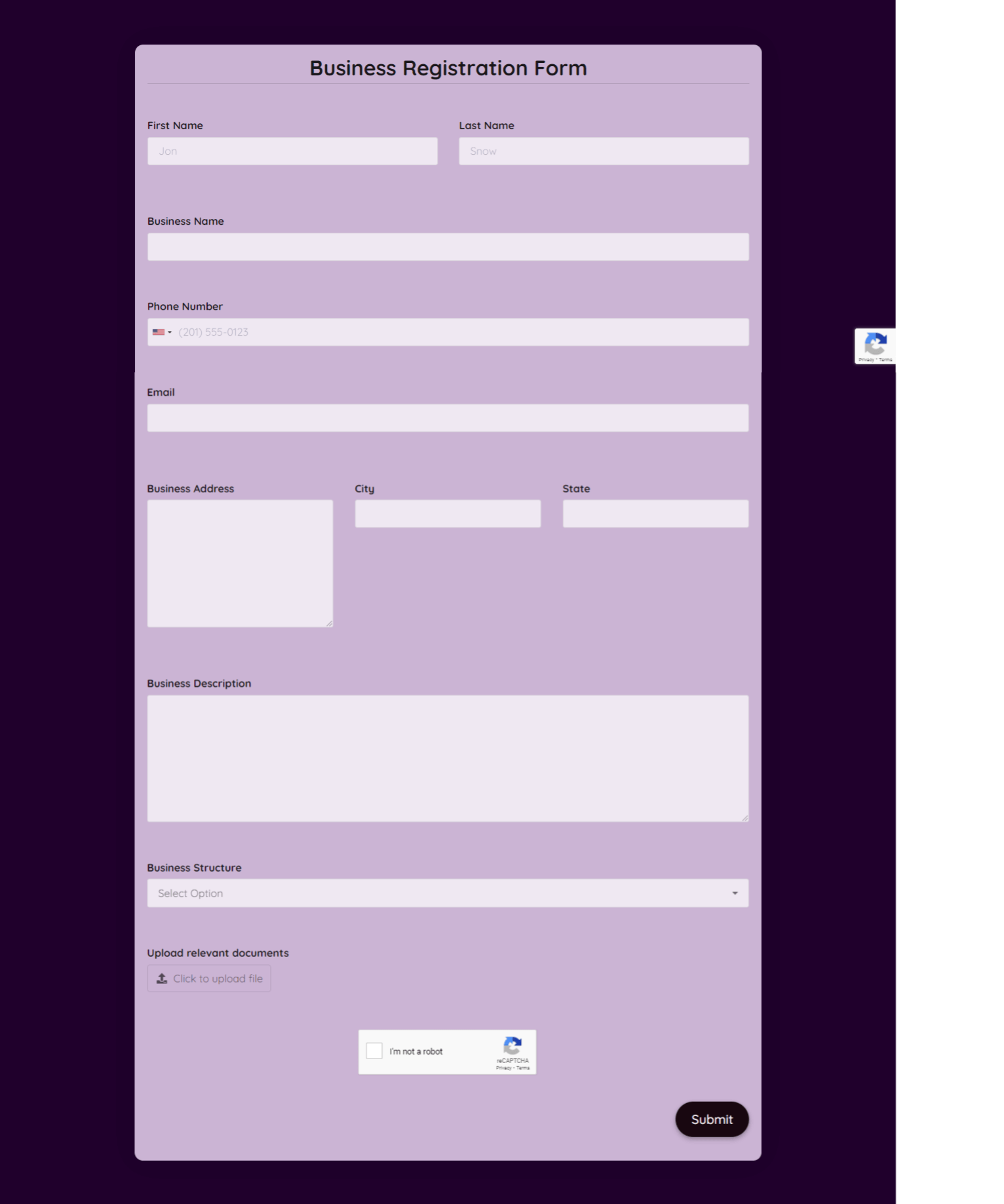 Business Registration Form Template template