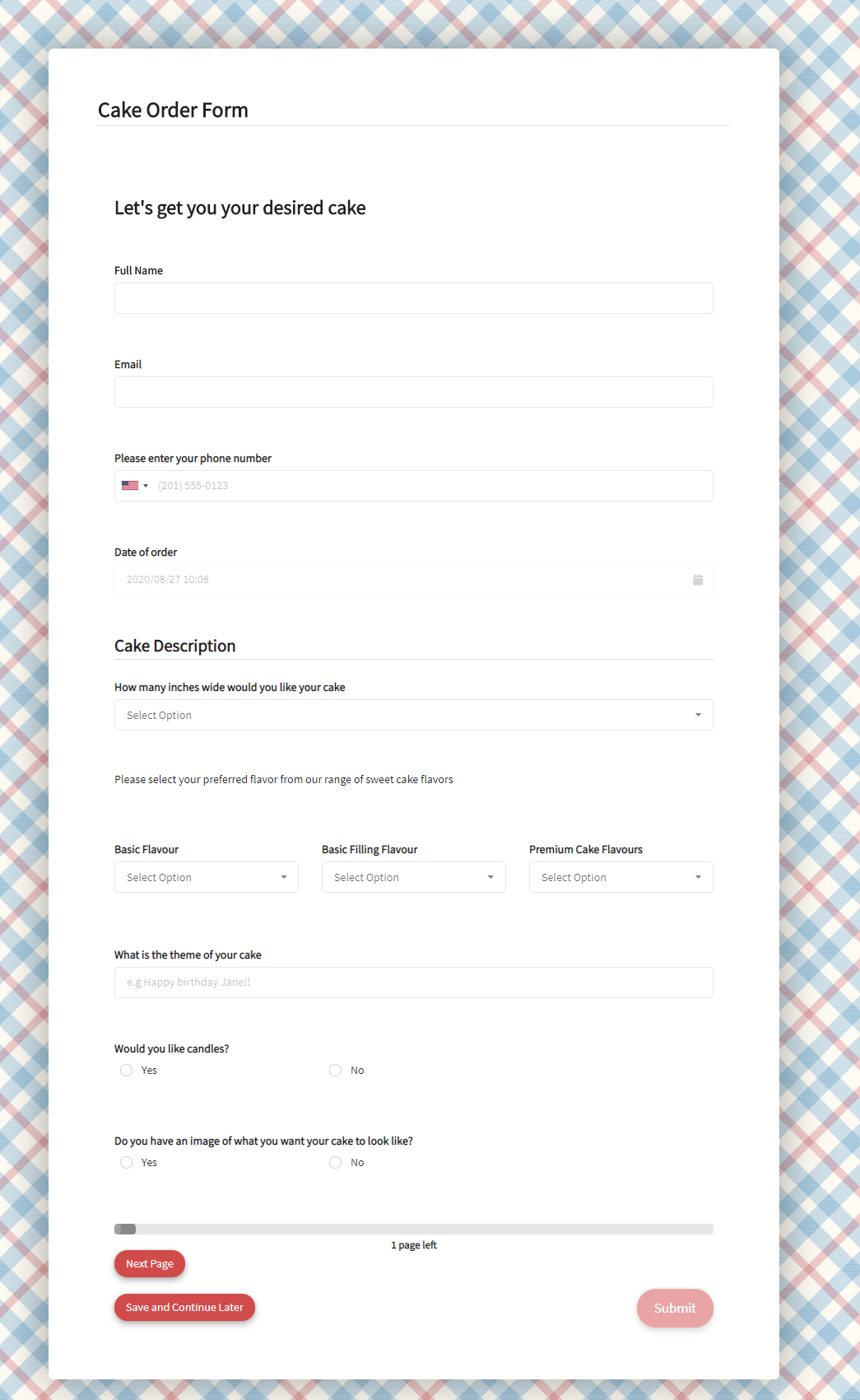 Cake Order Form Template template