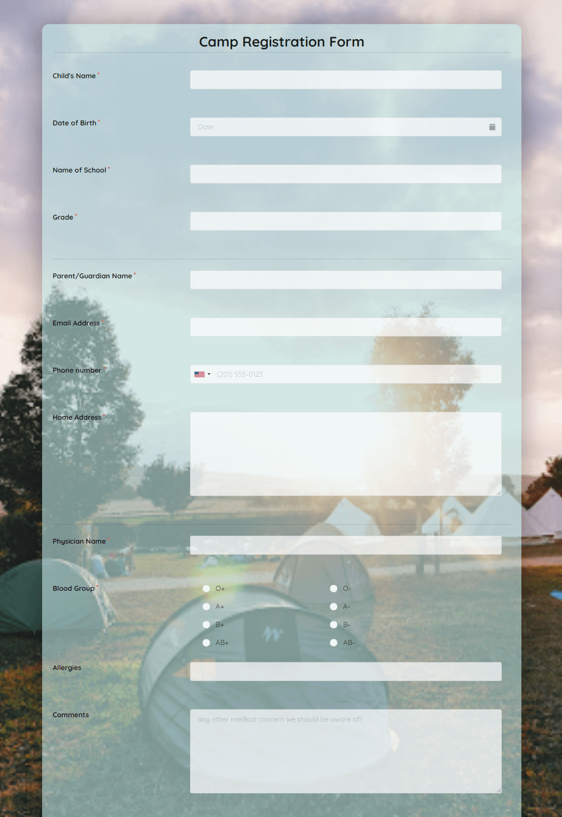 Camp Registration Form Template template