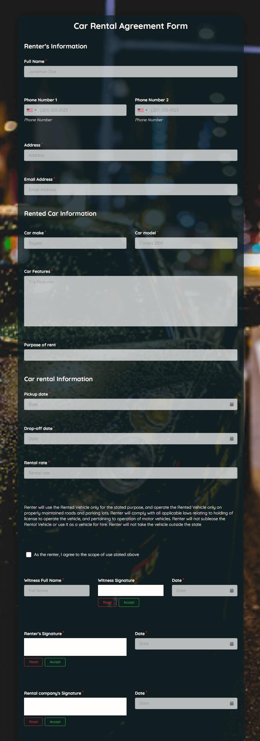 Car Rental Agreement Template template